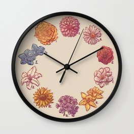 10 Flowers Wall Clock