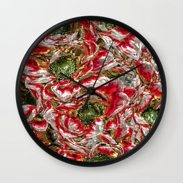 MetalArt Flowers red Wall Clock