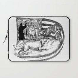 Sheepdog Protect Lamb from Wolf Tattoo Laptop Sleeve