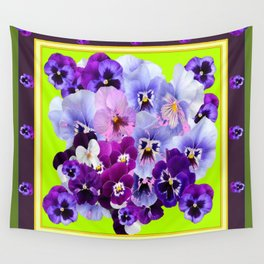 SPRING COLLECTION PURPLE-PINK PANSIES DESIGN Wall Tapestry