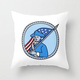 American Revolutionary Soldier Flag Circle Mono Line Throw Pillow
