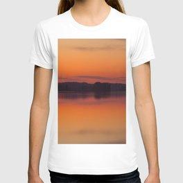 Evening Lakescape Orange Sunset Sky Reflection #decor #society6 #buyart T-shirt