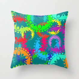 Texture of bright blue gears and laurel wreaths in kaleidoscope rainbow style. Throw Pillow