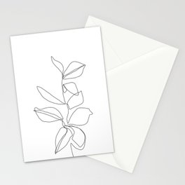 One line minimal plant leaves drawing - Birdie Stationery Cards