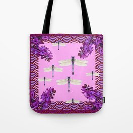 SPRING DRAGONFLIES PURPLE-PINK FLOWERS GARDEN ART Tote Bag
