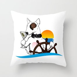 Elegant Bull terrier with helm Throw Pillow