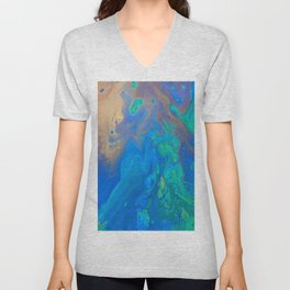Slow Down Blue II - Bright Blue Green Fluid Painting Unisex V-Neck