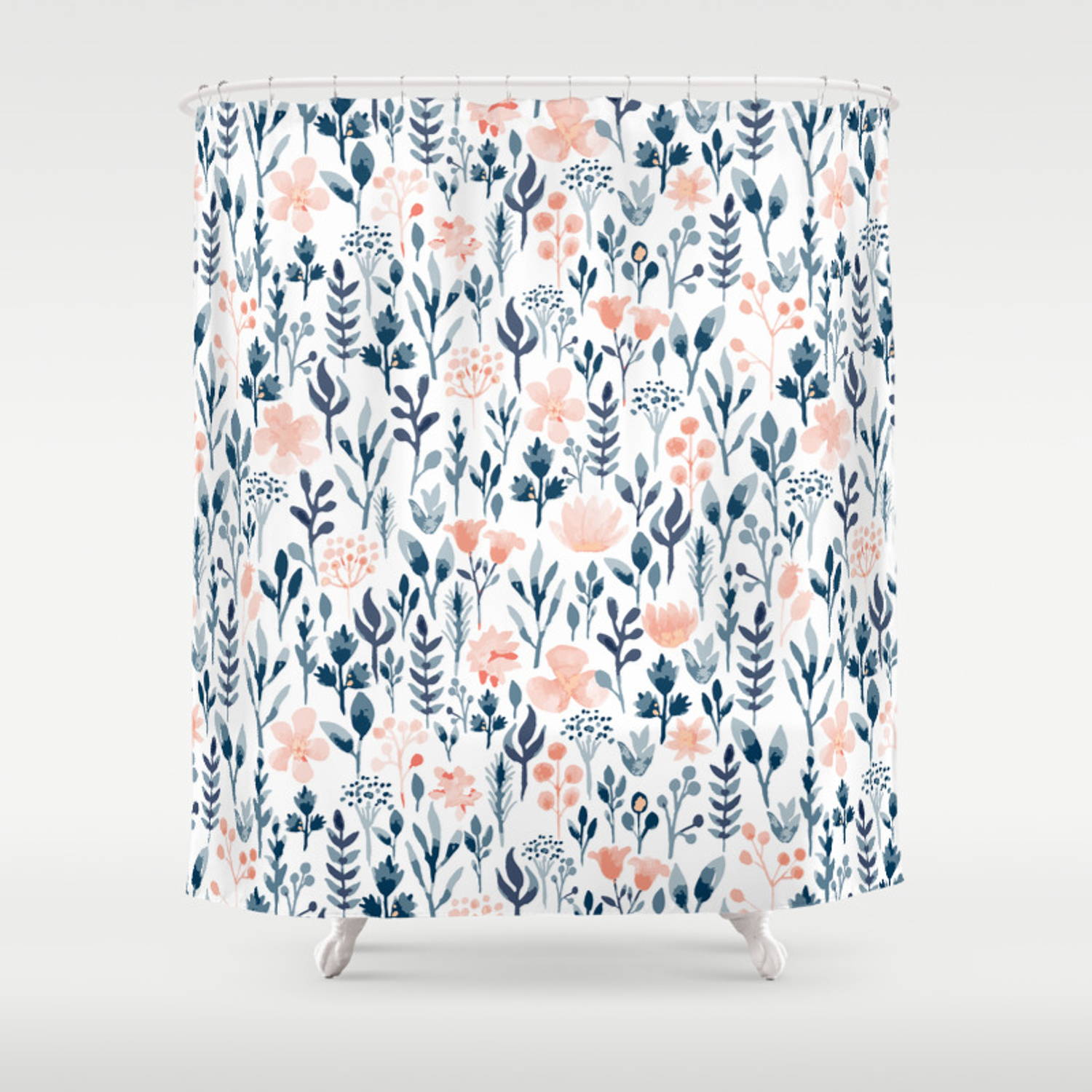 Watercolor Pastel Pink And Blue Floral Shower Curtain By Oppositedgedesign Society6