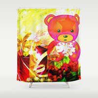 arnold Shower Curtains featuring Arnold celebrates Christmas by shiva camille