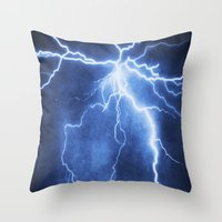 lightning Throw Pillows featuring Lightning by Svetlana Sewell