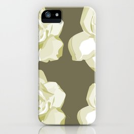 Brown,White Roses iPhone Case