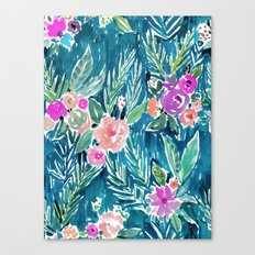 NAVY PARADISE FLORAL Tropical Hibiscus Palm Pattern Canvas Print