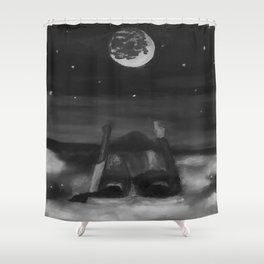 Dreams by Lu, black-and-white Shower Curtain