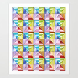 Symetric triangle 5 -vichy, gingham,strip,triangle,geometric, sober,tartan,mandala Art Print