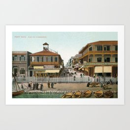 Vintage Egypt, port Said Commerce Street Art Print