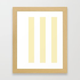 Wide Vertical Stripes - White and Blond Yellow Framed Art Print