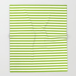 Apple Green & White Maritime Small Stripes- Mix & Match with Simplicity of Life Throw Blanket