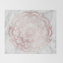 Rose Gold Mandala Star Throw Blanket