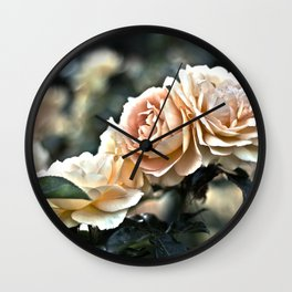 """Flower Art - Sunset Floral Print - Coral Pink, Peach, Yellow - Shabby Chic Art - """" Three Roses"""" Wall Clock"""
