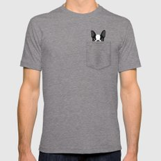 Pocket Boston Terrier Tri-Grey LARGE Mens Fitted Tee