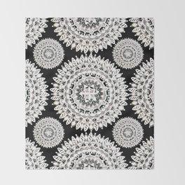 Black and Metallic White Floral Textile Mandala Throw Blanket