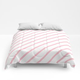 Diagonal Lines (Pink/White) Comforters