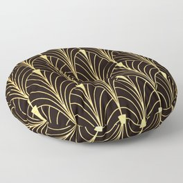 Sophisticated Glitzy Gold Art Deco Pattern Floor Pillow