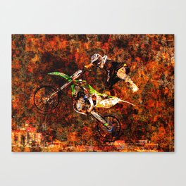 """""""On Fire"""" Freestyle Motocross Rider Canvas Print"""