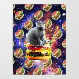 Hamburger Astro Cat On Burger Poster