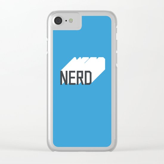 Retro Nerd Blue Clear iPhone Case