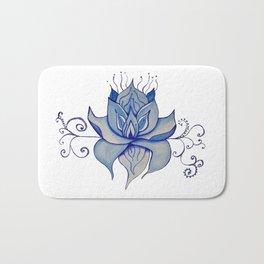 Watercolor Blue Lotus Bath Mat