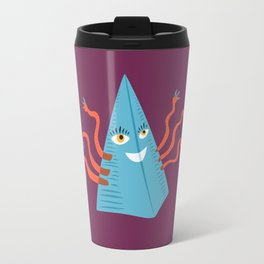Weird Blue Pyramid Character With Tentacles Travel Mug