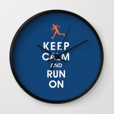 Keep Calm and Run On (male runner) Wall Clock
