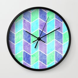 Blue and Green Geometric Diamonds Digital Chevron Pattern Wall Clock