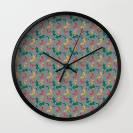 Festive Red Gold Green Holly Winter 2016 Pattern Wall Clock