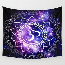 om mandala: purple blue space Wall Tapestry