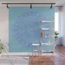 Bohemian Mandala in Beautiful Light Blues Wall Mural