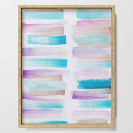 4| 181101 Watercolour Palette Abstract Art | Lines | Stripes | Serving Tray