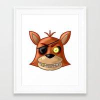 fnaf Framed Art Prints featuring FNAF Foxy by Bloo McDoodle