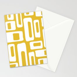 Retro Mid Century Modern Abstract Pattern 335 Mustard Yellow Stationery Cards