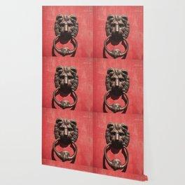 Red Door with Lion head  Wallpaper