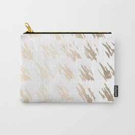 Luxe Gold Brush Polka Splotch on White Carry-All Pouch