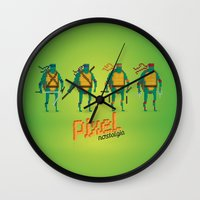 ninja turtles Wall Clocks featuring Ninja Turtles - Pixel Nostalgia by Boo! Studio