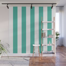 Blue lagoon - solid color - white vertical lines pattern Wall Mural