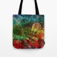 secret life Tote Bags featuring The Secret Life of Plankton by Klara Acel