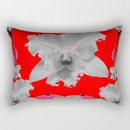 MODERN ART RED ART NOUVEAU WHITE ORCHIDS ART Rectangular Pillow