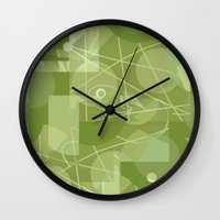 50s Wall Clocks featuring 50s wallpaper by jenapaul