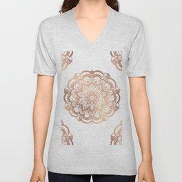 Mandala Rose-Gold Shine Unisex V-Neck