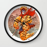 kit king Wall Clocks featuring Monkey King by Kit Seaton