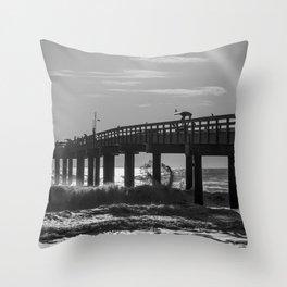 Fishermen on a Pier Throw Pillow